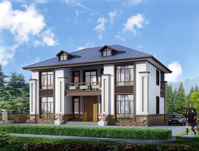 乡村二层中式别墅施工及设计效果图纸整套 NO.270