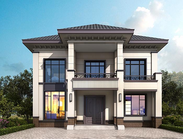 二层简欧风格农村小别墅设计图纸,带露台、柴火房NO.280