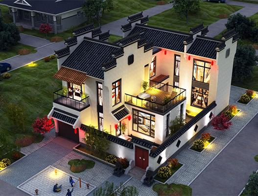 农村新中式二层带车库小别墅设计图NO.210