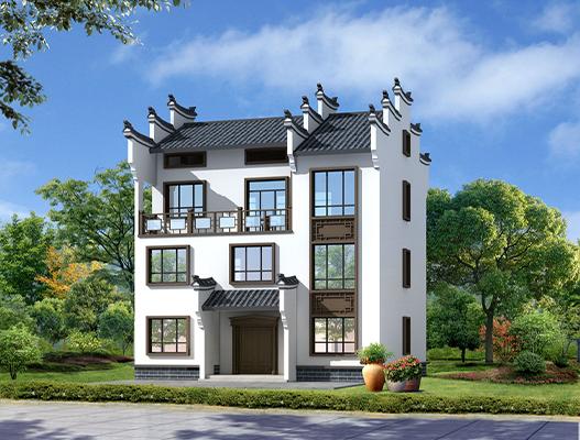 新中式风格农村三层楼房设计图及效果图  NO.355
